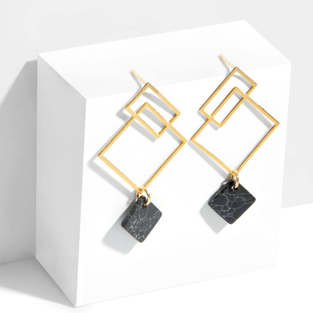 Ares Earrings - Yellow Gold with Black Howlite