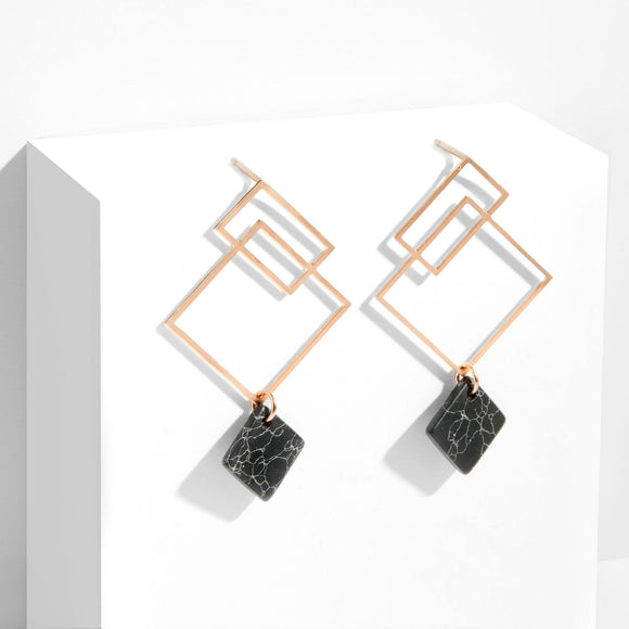Ares Earrings - Rose Gold with Black Howlite