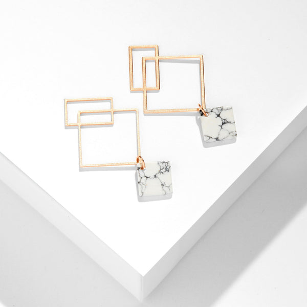 Ares Earrings with Howlite - Small in Rose Gold