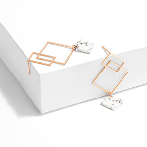 Ares Earrings - Rose Gold with White Howlite