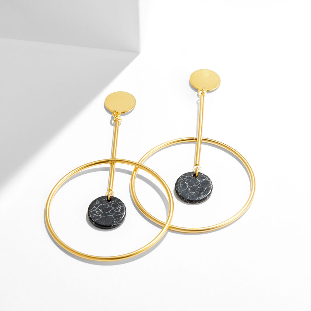 Callisto Earrings with Black Howlite