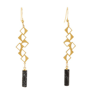 Moon Phases Earrings with Black Howlite Tubes