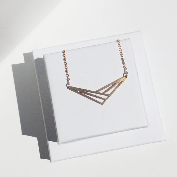 Azteca - Geometric Necklace with Intersecting Chevrons