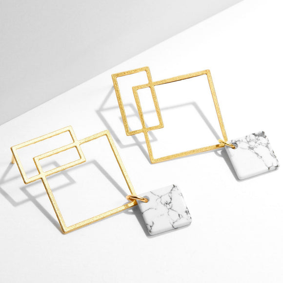 Ares Earrings  - Yellow Gold with White Howlite