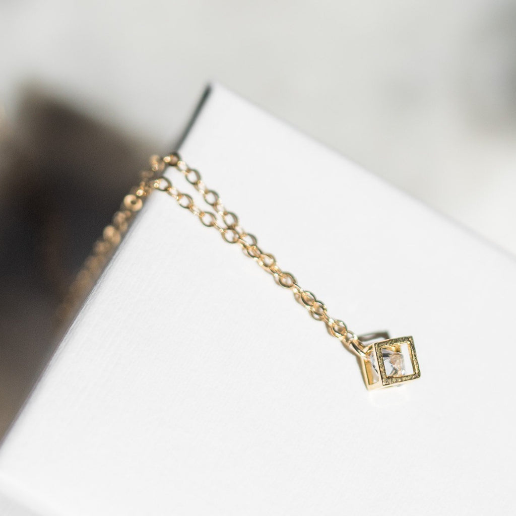 Diana - Tiny Cube Necklace with Cubic Zirconia