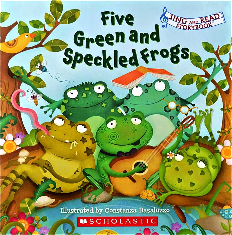 Five Green and Speckled Frogs illustrated by Constanza Basaluzzo