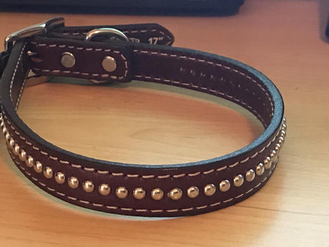 Weaver Leather-Chrome Studded Dog Collar