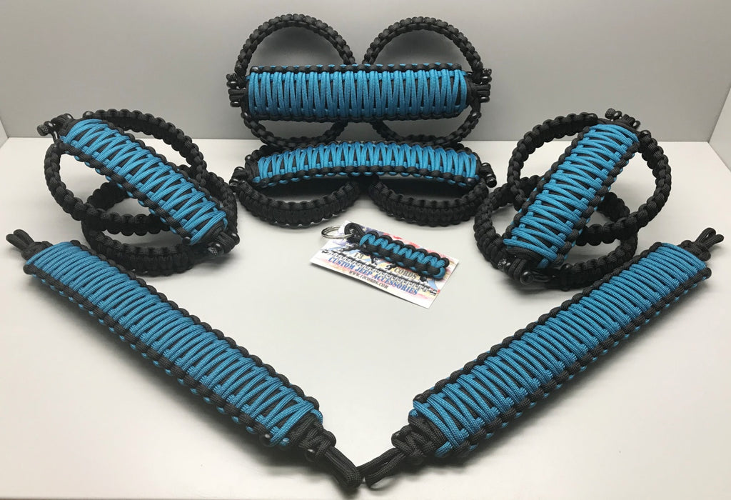 Triple Weave King Cobra Paracord Front, Rear, Headrests Grab Handle Set Jeep Wrangler JLU Bikini Blue/Black