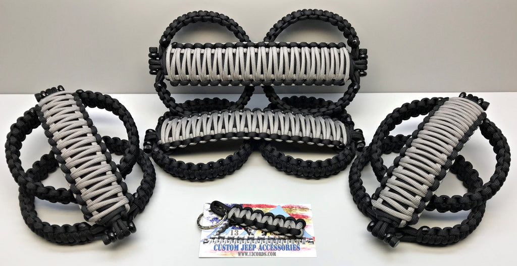 Triple Weave King Cobra Paracord Front & Rear Grab Handle Set Jeep Wrangler JLU Billet/Black