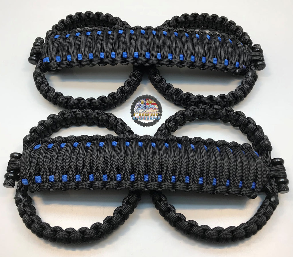 Triple Weave King Cobra Paracord Front Grab Handle Set Jeep Wrangler JK/JKU Black/Deepwater Blue