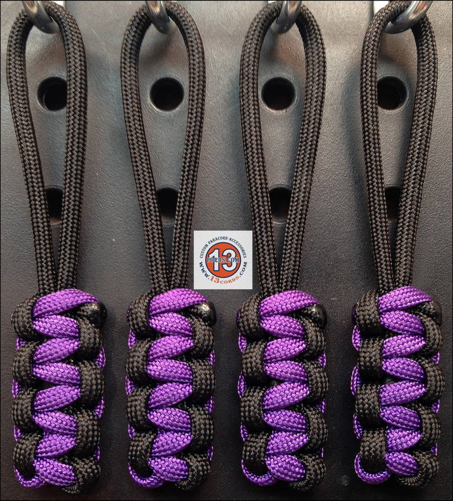 Cobra Zipper Pull Set- Black/Acid Purple
