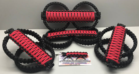 Firecracker Red Jeep Wrangler JLU Grab Handle Paracord