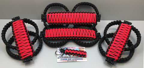 Triple Weave King Cobra Paracord Front & Rear Grab Handle Set Jeep Wrangler JLU Flame Red/Black