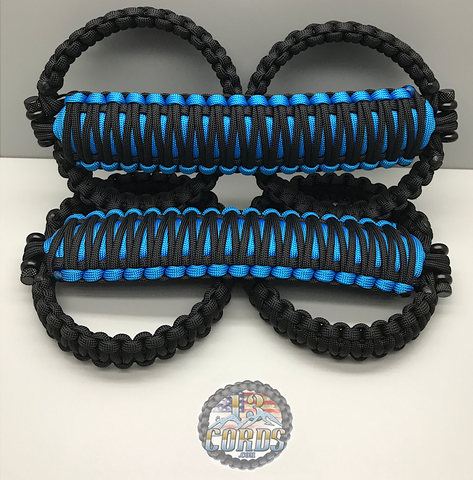 Triple Weave King Cobra Paracord Front Grab Handle Set Jeep Wrangler JK/JKU Hydro Blue/Black
