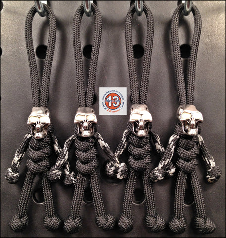 Luminous Skull Peopulls Zipper Pull Set- Black/Black & Silver GID Tracer
