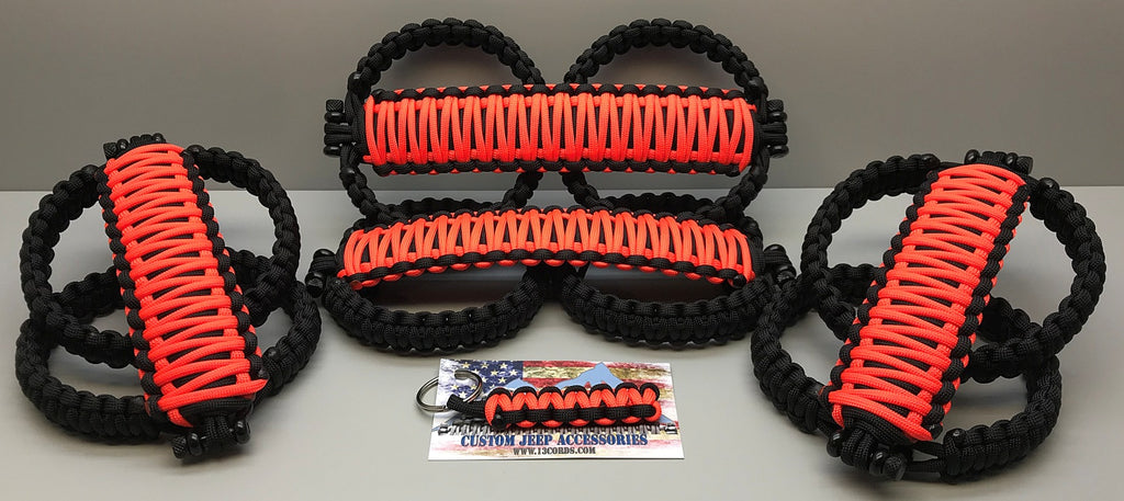 Triple Weave King Cobra Paracord Front & Rear Grab Handle Set Jeep Wrangler JLU Punk'n/Black