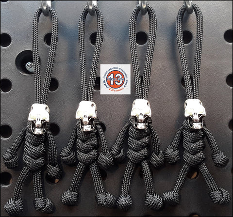 Luminous Skull Peopulls Zipper Pull Set- Black/Black