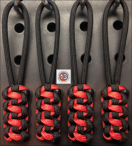 Thinline Zipper Pull Set- Black/Firecracker Red