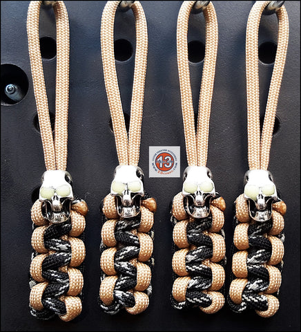 Luminous Skull Cobra Zipper Pull Set - Sahara Tan/Black & Silver GID Tracer