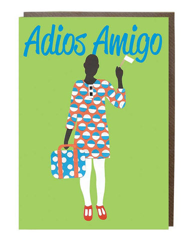 Adios Amigo 'Bon Voyage' Girl Greeting Card
