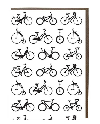 Bicycles Silhouette Pattern Greeting Card - sweetdesignstudio