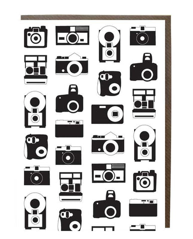 Cameras Silhouette Pattern Greeting Card - sweetdesignstudio