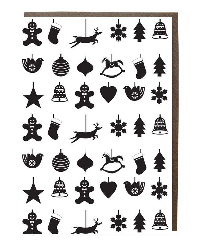 Chirstmas Silhouette Decorations Greeting Card - sweetdesignstudio
