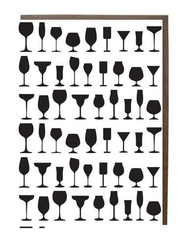 Wine Glass Silhouette Greeting Card - sweetdesignstudio