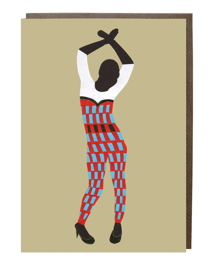 Jumpsuit Dancing Girl Greeting Card - sweetdesignstudio
