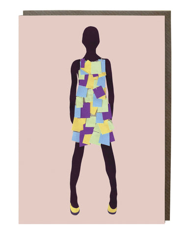 Post It Dress Girl Greeting Card - sweetdesignstudio