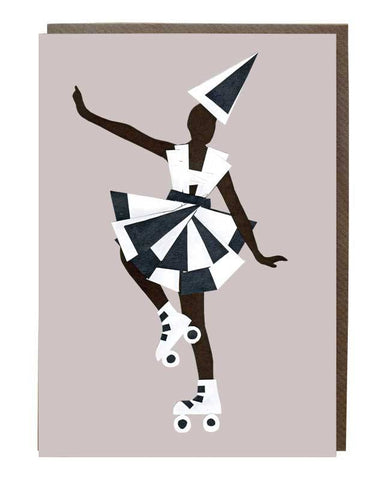 Skater Dress Monochrome Girl Greeting Card - sweetdesignstudio