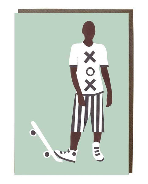 Skater Boy Monochrome Greeting Card - sweetdesignstudio