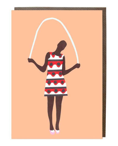 Skipping Girl Greeting Card - sweetdesignstudio
