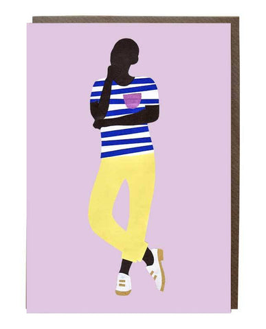 Blue and white stripe T-shirt Boy Greeting Card - sweetdesignstudio