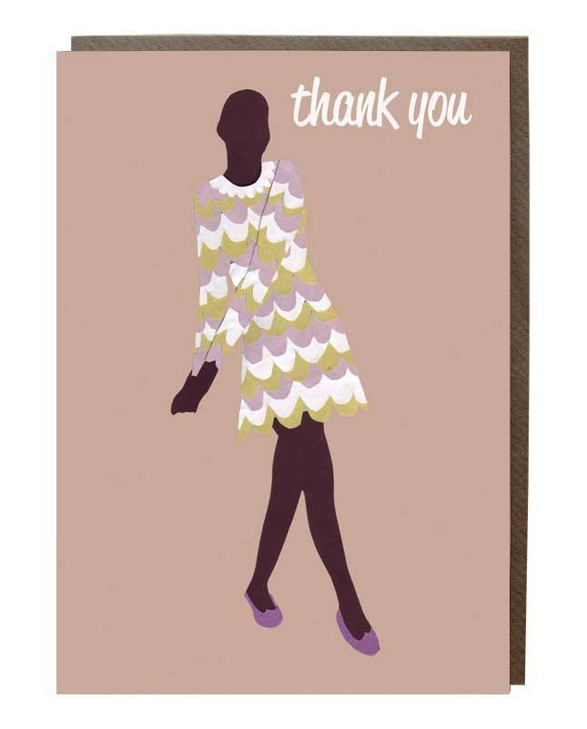 60's Dress Thank You Greeting Card - sweetdesignstudio
