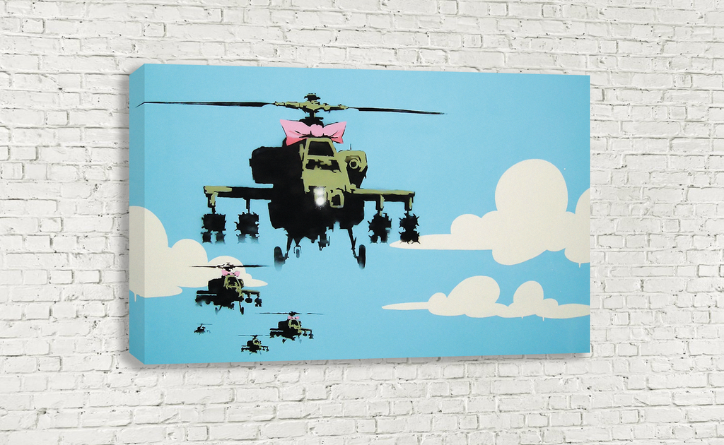 ... BANKSY APACHE ATTACK HELICOPTERS PINK BOWS BANKSY WALL ART ...