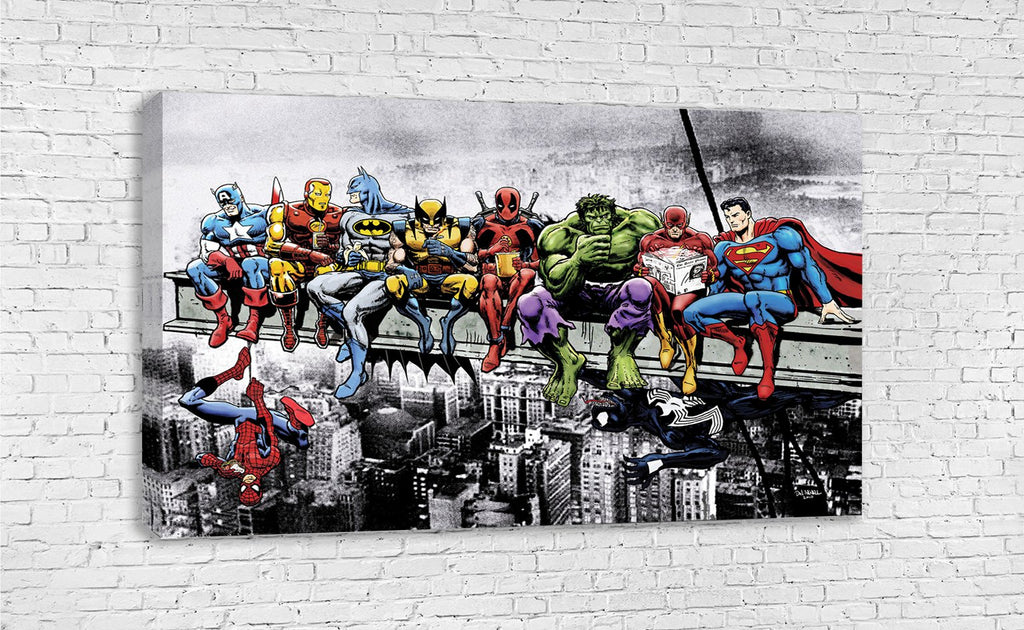 ... MARVEL SUPERHEROES LUNCH ATOP A SKYSCRAPER BREAKFAST OF CHAMPIONS BY  DAN AVENELL ART ...