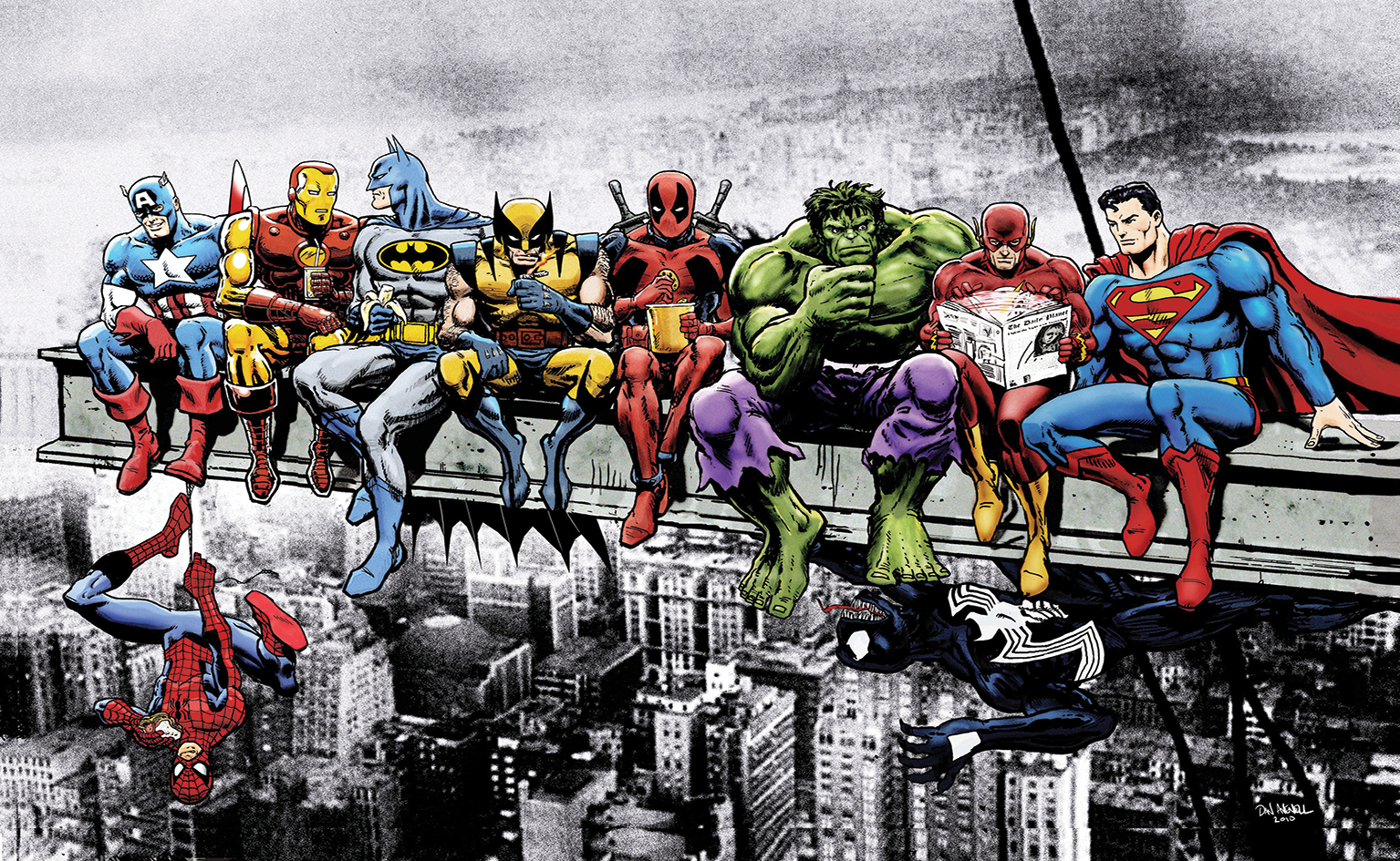 Marvel Superheroes Lunch Atop A Skyscraper Breakfast Of