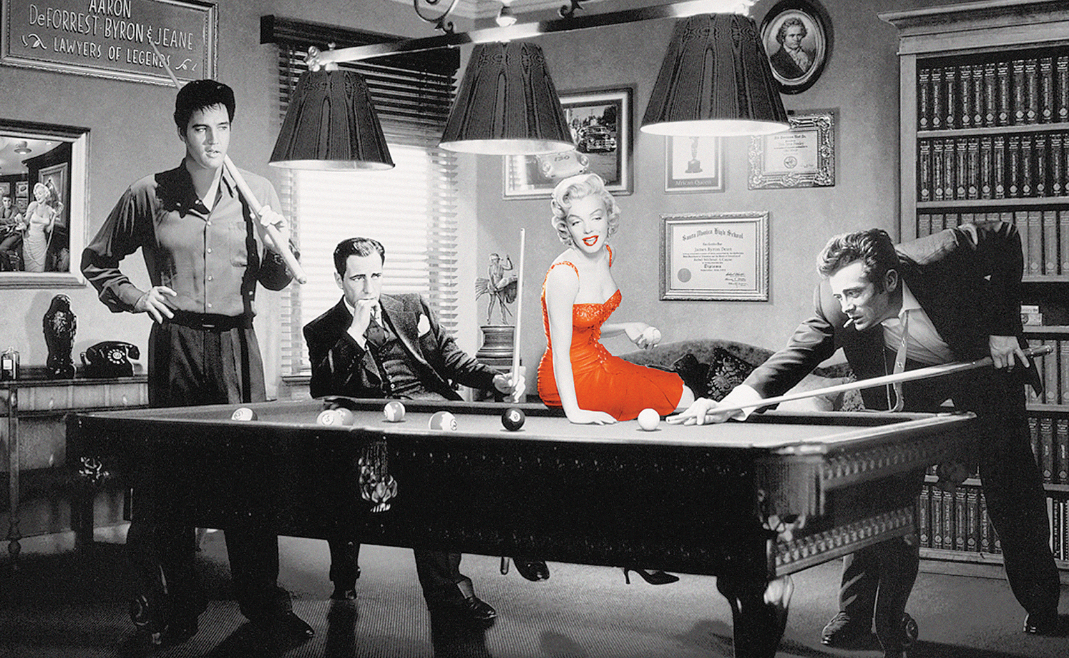 James Dean Elvis Presley Marilyn Monroe Red Dress Billiards Table