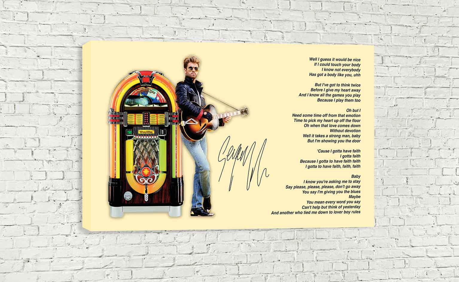 GEORGE MICHAEL FAITH LYRICS SIGNATURE WALL ART - wallart.london