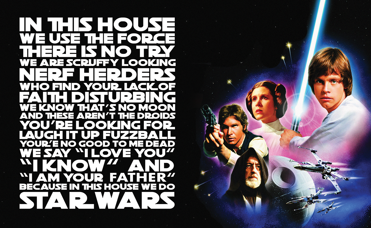 In This House We Do Star Wars Quote Wall Art Wallartlondon