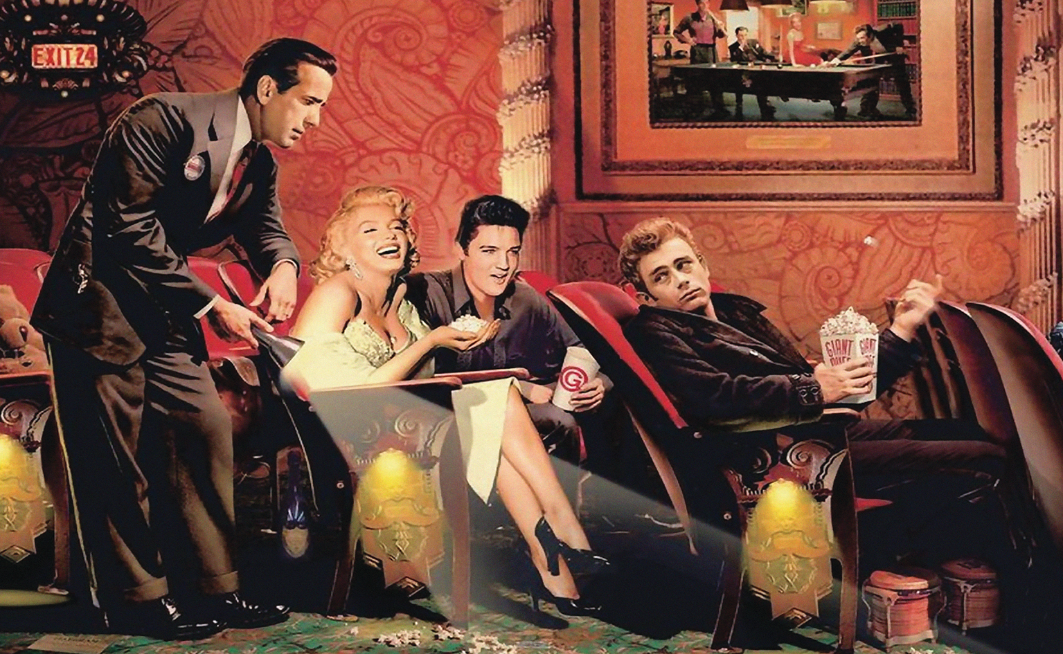 James Dean Elvis Presley Marilyn Monroe At The Movies Cinema Wall