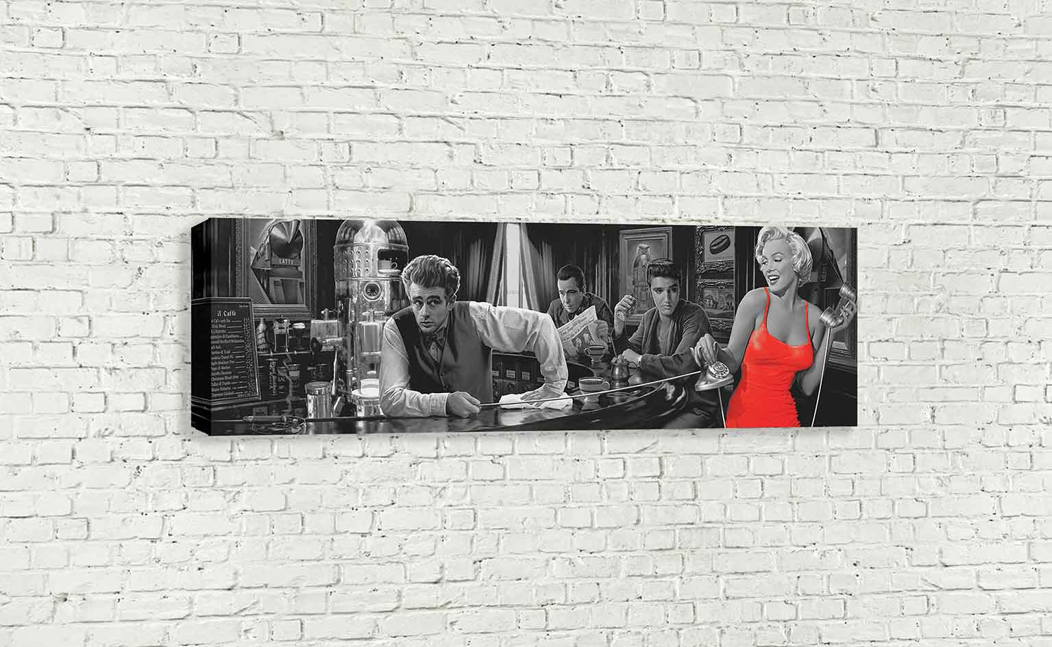 Marilyn Monroe Elvis Presley James Dean In Bar Panoramic Pop Art