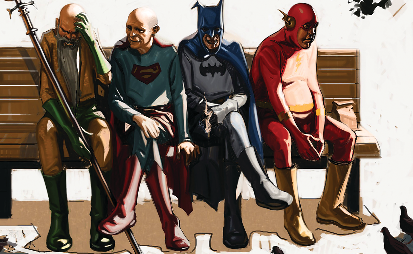 Image result for old superheroes sitting on bench