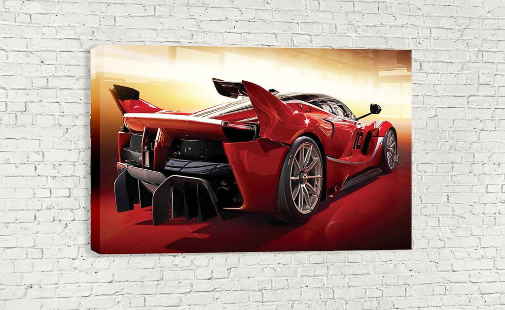 RED FERRARI FXX K 2015 BACK SUPERCAR WALL ART - wallart.london