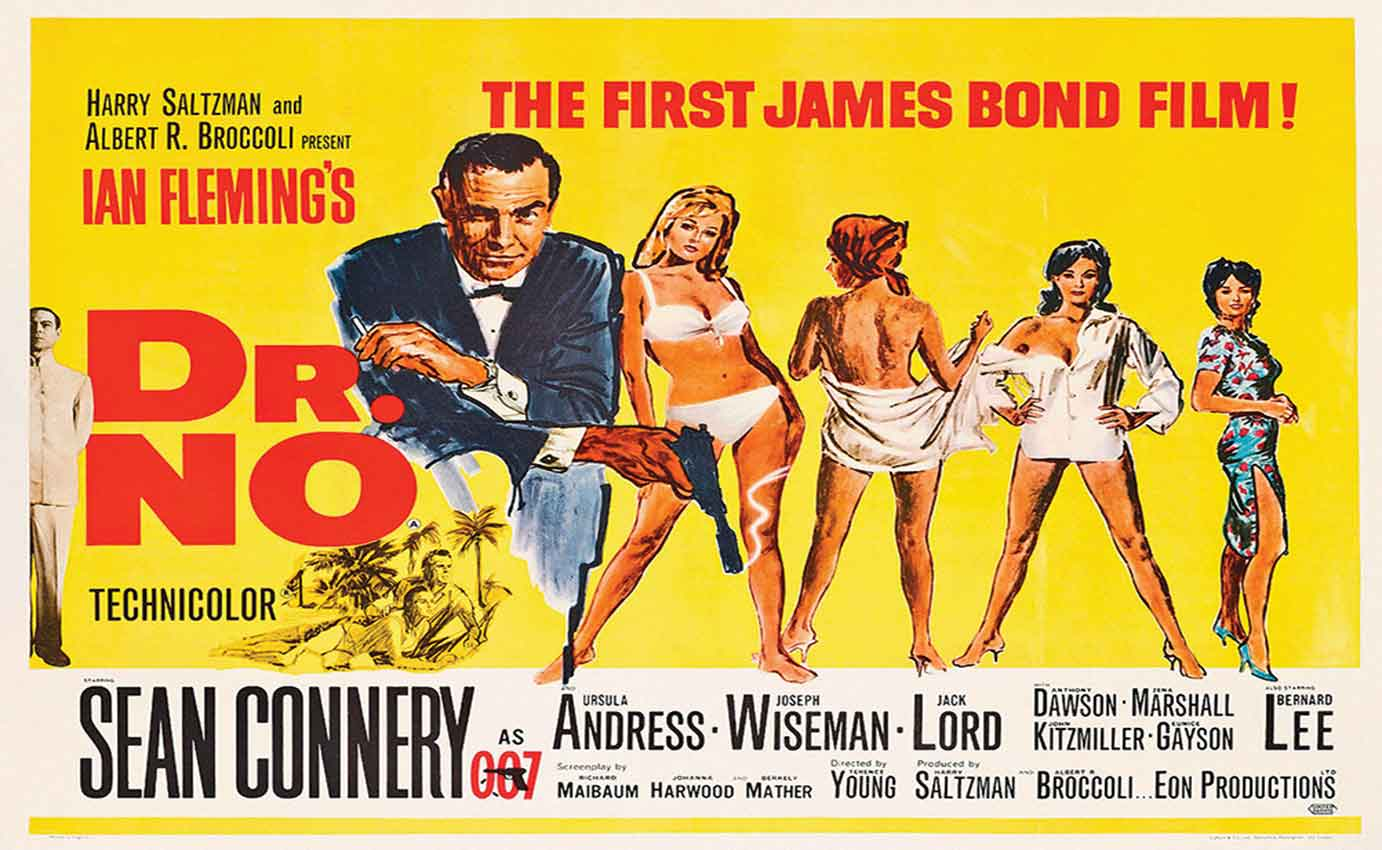 DR. NO JAMES BOND 007 SEAN CONNERY VINTAGE CLASSIC YELLOW POSTER ...