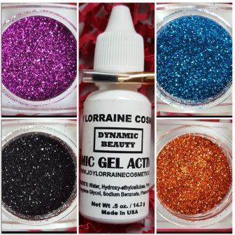 Diamond Cosmetic Glitter Bundle, Cabaret. Bundle includes Diamond Cosmetic Glitters in Island Blue, Pumpkin Pie, Hot Pink, and Brooklynite, along with a glitter adhesive and brush.