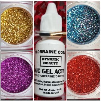 Diamond Cosmetic Glitter Bundle, Carnival. Bundle includes Diamond Cosmetic Glitters in Aquadacious, Red Slippers, 24K, and Hot Pink, along with a glitter adhesive and brush.