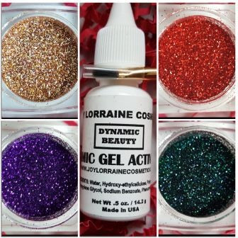Diamond Cosmetic Glitter Bundle, Eye Gaza. Bundle includes Diamond Cosmetic Glitters in Red Slippers, Teal, Tan and Purple, along with a glitter adhesive and brush.