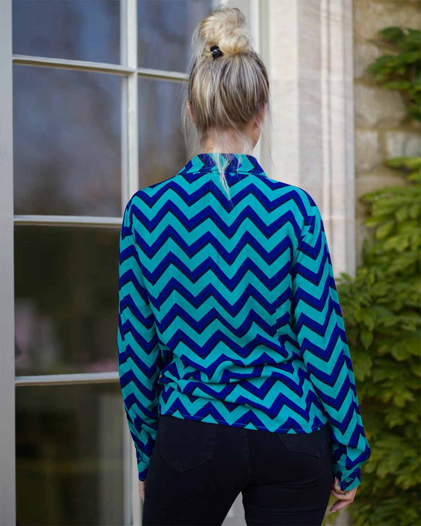 Firenze Navy/Jade Chevron